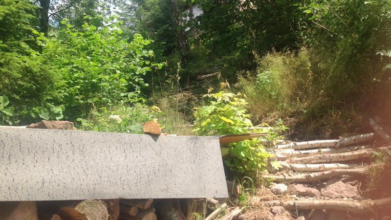 Eine romantische Holztreppe verbindet das Haupthaus mit dem Gästehaus