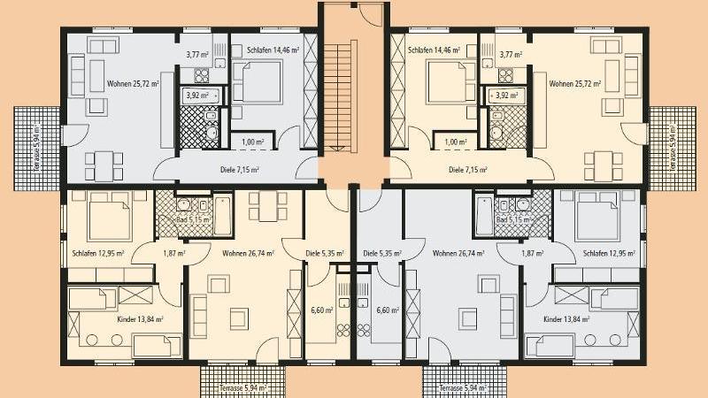 Grundriss Haus 16 Erdgeschoss Wohnung Nr 39 Abb. rechts oben